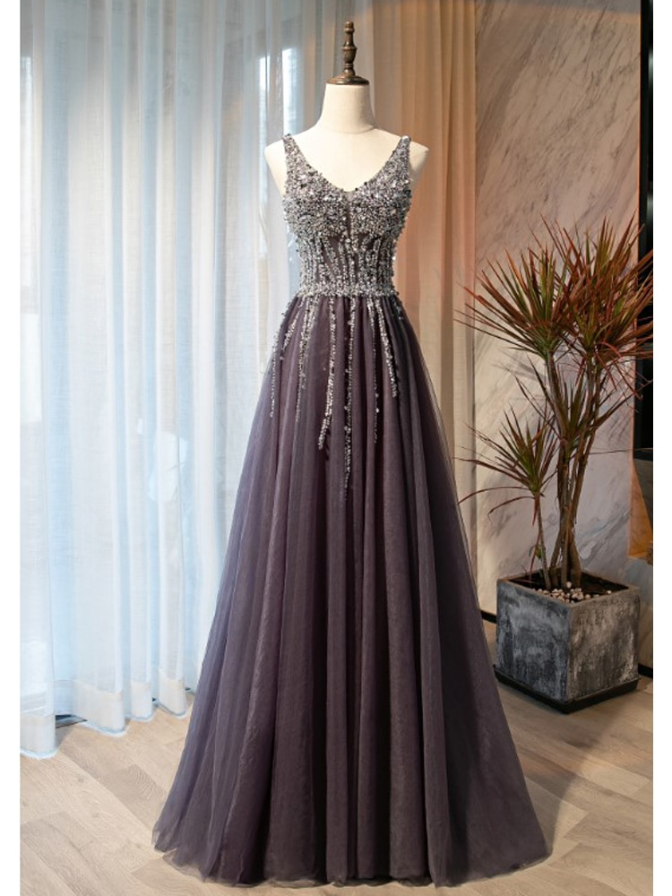 2021 Evening Dresses New Arrival Shining Beading Sequins Pleats Tulle Prom Gowns