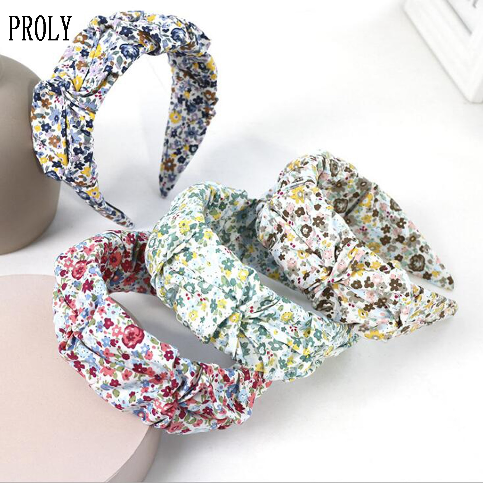 PROLY, nueva diadema de moda para mujeres, pequeña diadema Floral fresca, diadema de flores Lado ancho, turbante suave, accesorios para el cabello para adultos