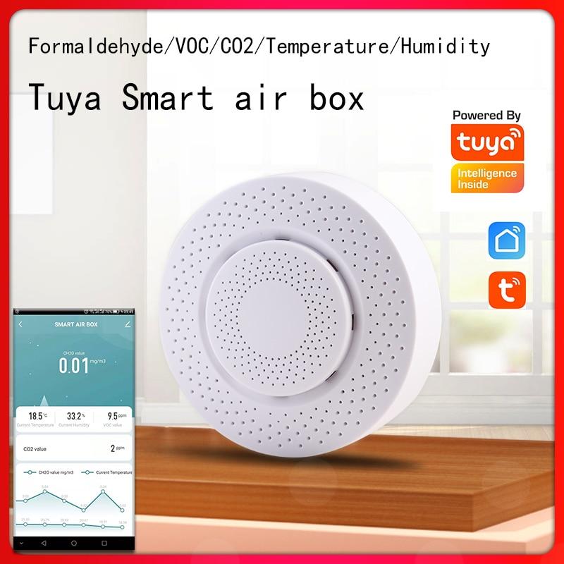 Tuya WIFI Smart Air Box Formaldehyde Humidity Sensor Automation Alarm VOC Gas CO2 Detector Family Intelligence System