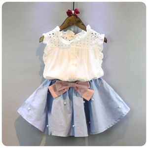 Lace Girl Sets Summer New 2021 White T-Shirts And Blue Bow Pleated Mini Skirts Fashion Children Clothing Suits Top Quality
