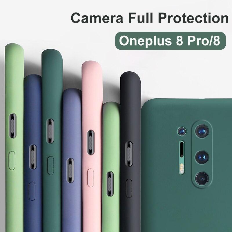 10 Uds para Oneplus 8 Pro One Plus 8 funda oficial de silicona líquida a prueba de golpes cubierta protectora completa de silicona suave terciopelo