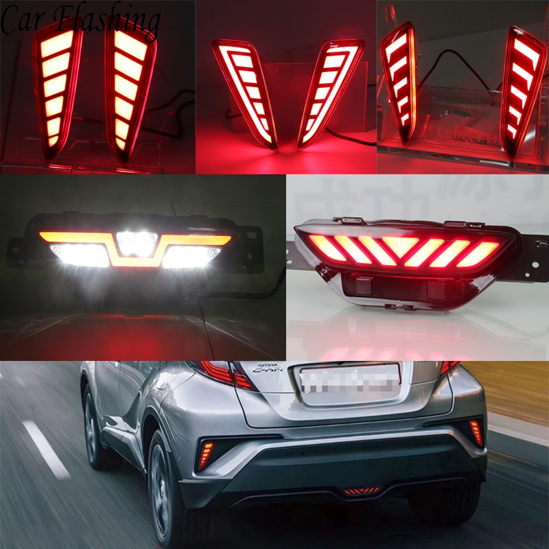Reflector Led intermitente para coche, luz de parachoques trasera para Toyota CHR C-HR 2016 2017 2018 2019, luz antiniebla, luz de freno trasera, luz inversa