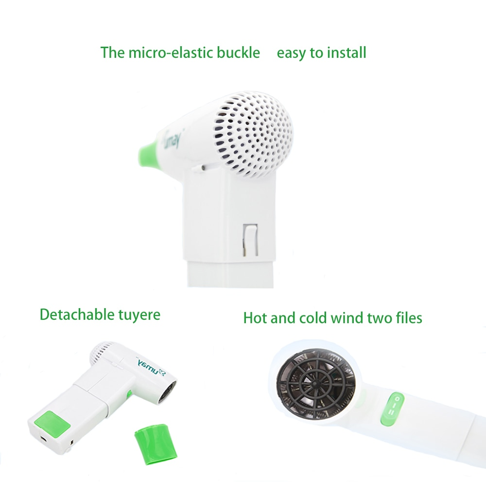Travel Hair Dryer with 2 Batteries USB Port Outdoor Pet Hair Equipment  Tools  Plastic Portable Hair Dryer with replace Battery enlarge