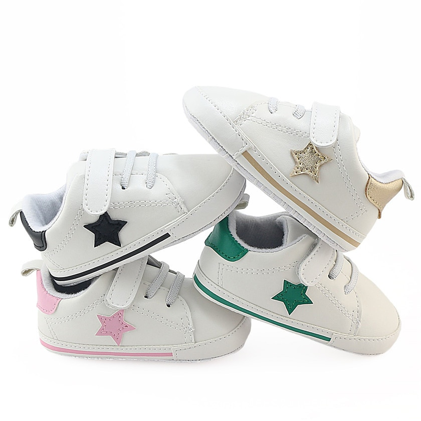 2018 spring autum new infant sports baby boy shoes of children 1 3 years toddler soft bottom hook newborn Baby shoes soft bottom comfortable star pattern Velcro toddler infant baby boy girl shoes
