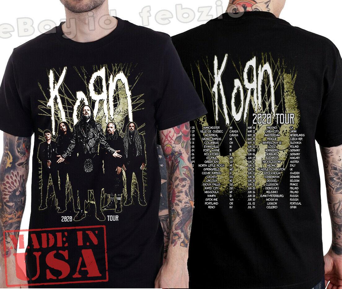 Camiseta de concierto con fechas completas de la gira conjunta Korn 2020, Jonathan Davis Korn Merch