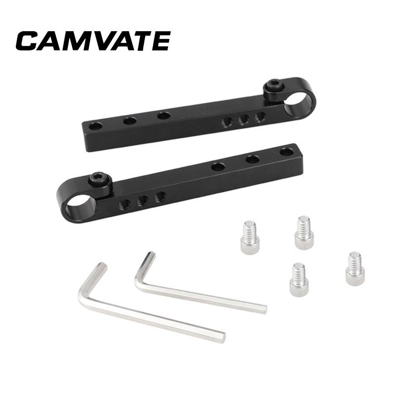 Barra transversal de aluminio CAMVATE 124mm con adaptador de barra única de 15mm riel inferior superior del riel para DLSR Kit de jaula de cámara (un par) C2338