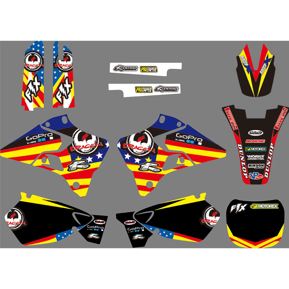 Calcomanías gráficas completas pegatinas de fondo de motocicleta personalizado 3M para YAMAHA YZ125 YZ250 YZ 125 YZ 250 1996 1997 1998 1999 2000 2001