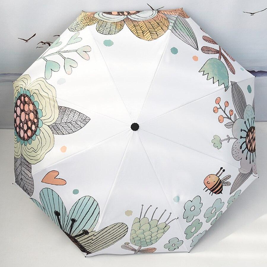 Paraguas pequeño y portátil para Mujer, sombrilla de lluvia soleada Kawaii, sombrilla coreana Plegable para Mujer HH50YS