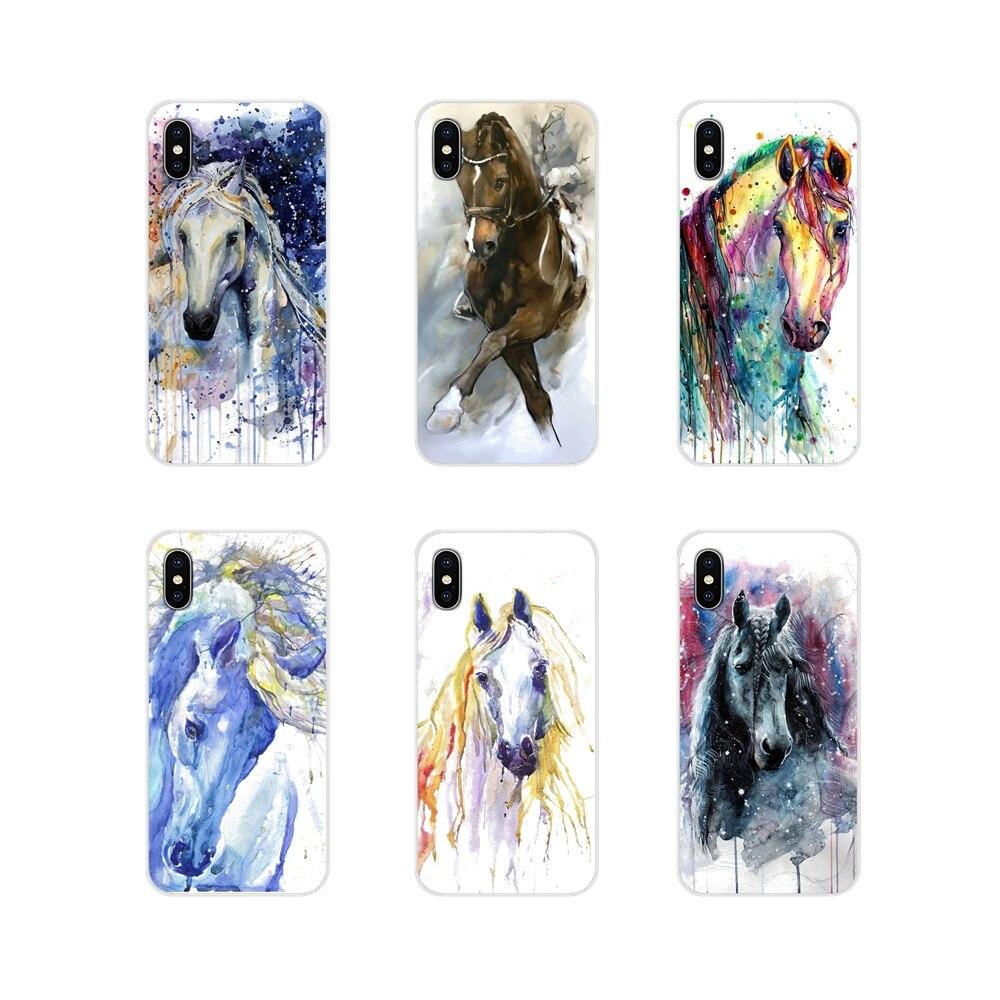 Para Samsung Galaxy A3 A5 A7 A9 A8 Star A6 Plus 2018 2015 2016 2017 accesorios fundas para teléfono acuarela caballo