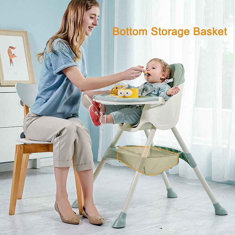 Baby Inner Adjustable Baby Dining Chair Folding Booster Seat Portable High Feeding Lunch Chair with Bottom Storage Basket enlarge