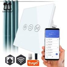 Livraison gratuite ue Standard électrique mur rideau contrôleur domotique intelligente interrupteur tactile ouvert Pause fermer eWelink Tuya app