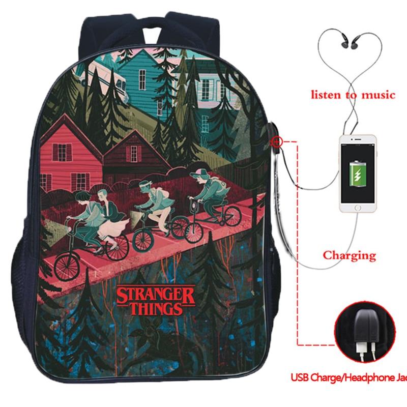 Stranger Things 3 multifunción USB carga Mochila escolar niños niñas bolsas de viaje auriculares Mochila Jack Mochila para estudiantes adolescentes