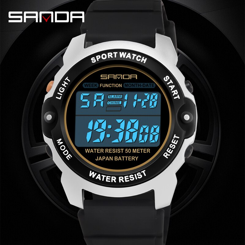 Sanda Sports Digital Watch Wrist Watches Electronic Black Teenager Multi-function Outdoor Student Male Silicone Waterproof Clock enlarge