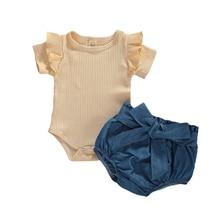 Bébé filles 2 pièces barboteuse ensemble couleur unie à volants manches courtes col rond bouton fermeture combinaison, bandeau élastique Triangle pantalon court