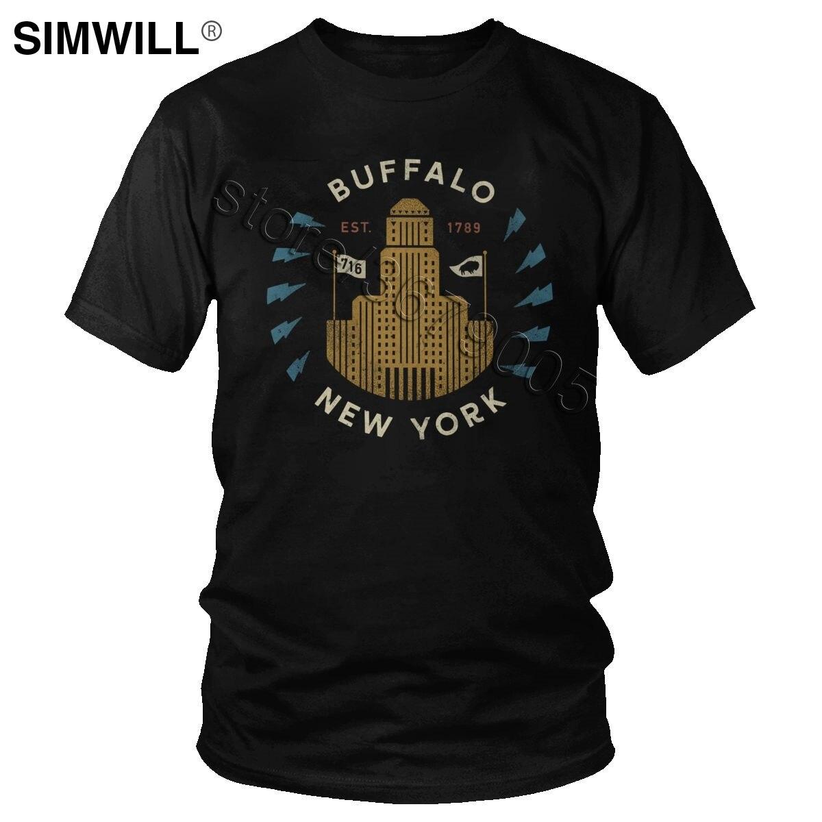 Vintage New York Buffalo camiseta hombres 100% algodón edificio Camisetas manga corta urbana moda Streetwear camiseta regalo Tops