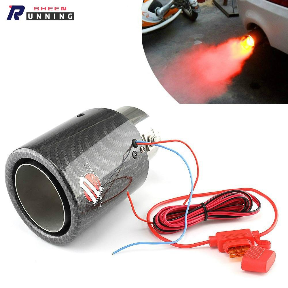Silenciador Universal del sistema de escape del coche tubos de cola de la punta plana rojo/azul luz del coche modificado tubo de escape de una sola salida