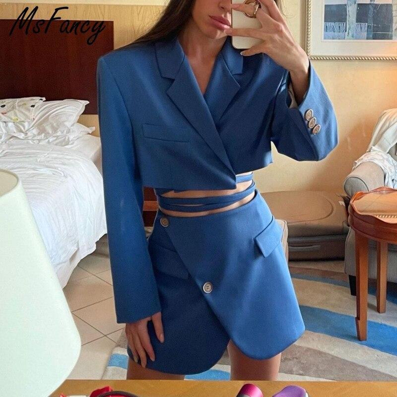 Msfancy Summen Skirt Sets Women Blue Long Sleeve Shrug Bandage Crop Blazer High Waist A-line Suit Skirt 2021 Mujer Elegant Sets