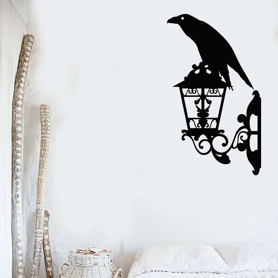 Crow Wall Decal Black Raven Bird Lantern Street Style Bedroom Living Room Home Decoration Vinyl Window Stickers Art Mural M359