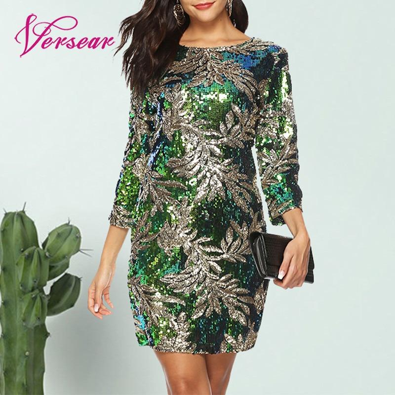 Versear Frauen Bodycon Kleid Pailletten Glitter Bling 3/4 Ärmeln O Hals Abend Party Casual Mini Kleid Elegante Street Vestido