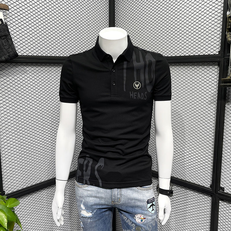 T-shirt Men's Summer Short-sleeved Polo Shirt Men's Printing Fashion Brand Slim Fit All-match Embroidery Casual Top