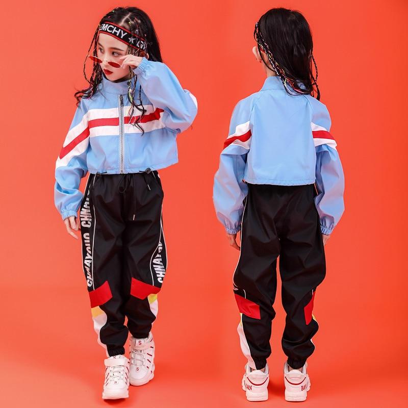 Chico Hip Hop ropa de cuello chaqueta capa superior corriendo pantalones casuales para niñas niño danza traje de baile desgaste de la ropa