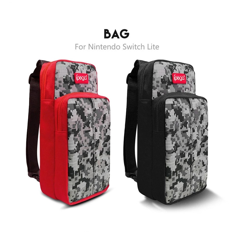 Unisex Game Machine Storage Bag, Portable Camouflage Print Chest Bag for Nintendo Switch, Black/Red