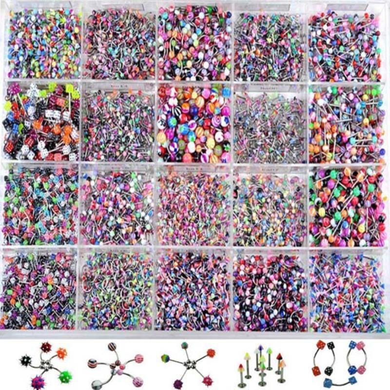 Многоцветные украшения для тела, 110 шт., разноцветные Украшения для бровей и губ, кольцо для живота, для языка, сексуальное Винтажное кольцо для тела для женщин и мужчин