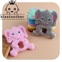 kissteether bpa free 1pcs new elephant silicone baby teether rodent baby teething toys chewable animal shape nursing gift