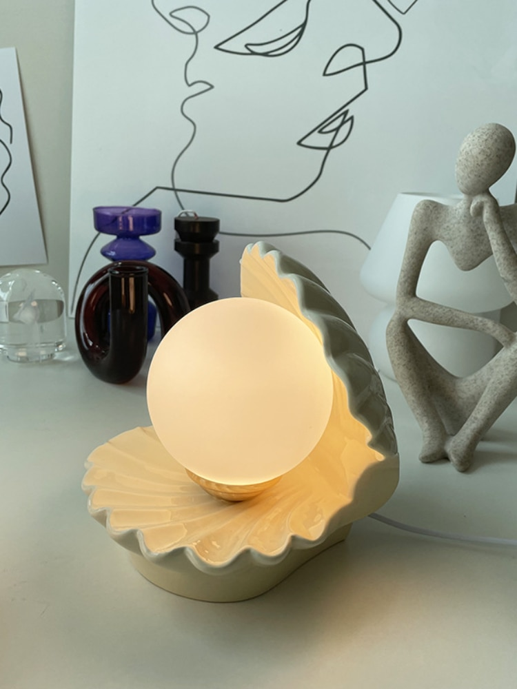 Ceramic shell table lamp, bedroom decorative night lamp, crib, goggles, children's gifts. enlarge
