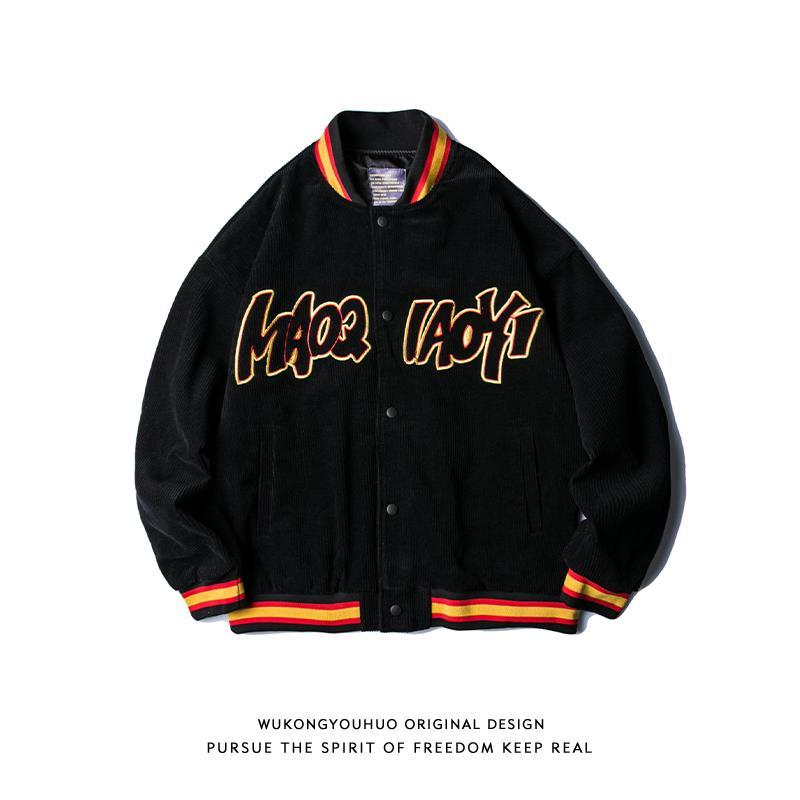 Spring and autumn 2021 new European and American street retro corduroy baseball jacket men's trend loose embroidered jacket