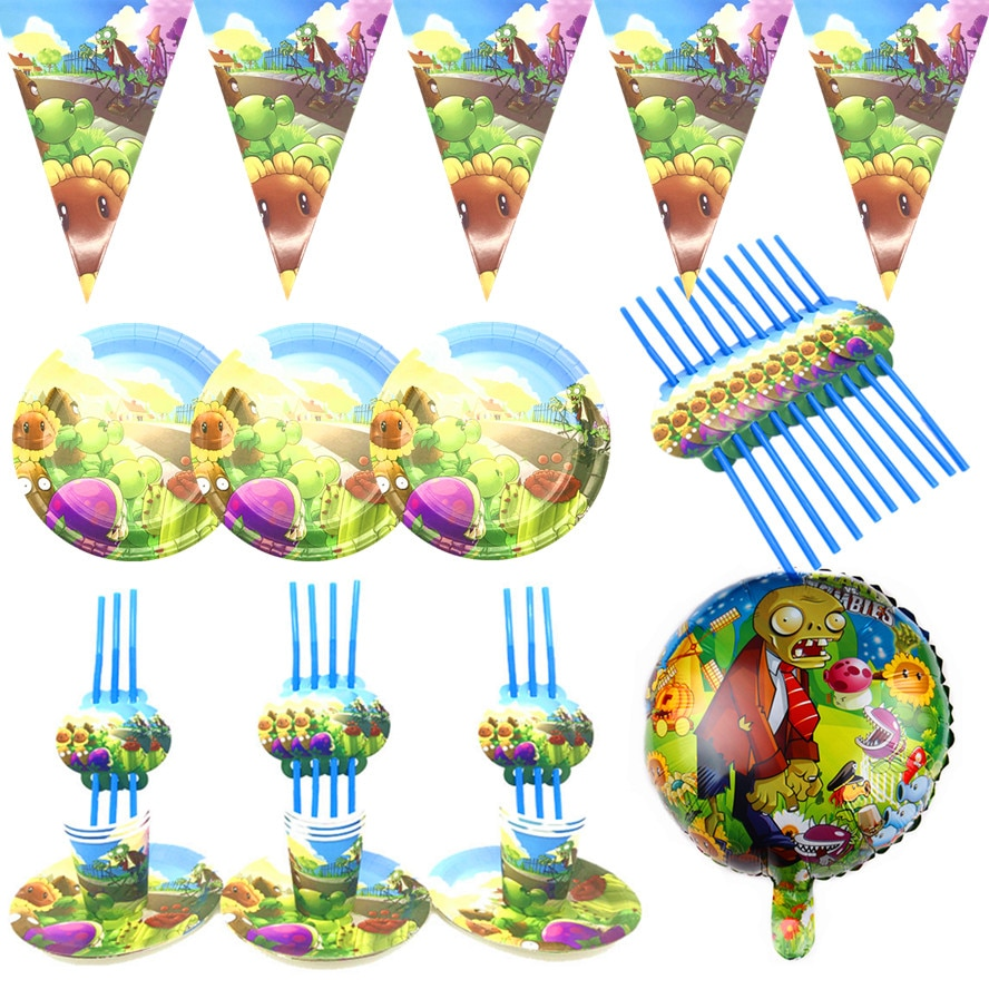 Game Plants vs Zombies Disposable Party Tableware Sets Kids Birthday PVZ Party Decor Baby Shower Cartoon Theme Party Supplies
