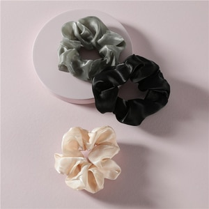 ZFYIN Solid Color Super Big Scrunchies Pack Donut Elastic Hair Band Ponytail Holders Set for Women