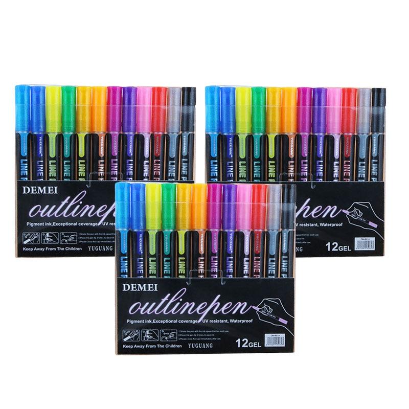 12 Colors/Set Double Line Pen Fluorescent Glitter Marker Drawing Pen Outline Pen Stationery for Painting DIY Art Crafts Doodling