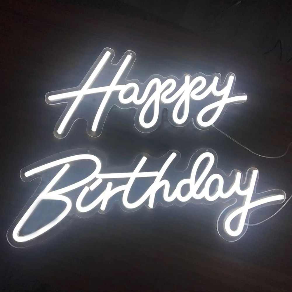 Custom Sign 30''x22'' Happy Birthday Led Flex Neon Sign Light Letter Board Party Background Wall Decor LED Sign 12V Power Suply