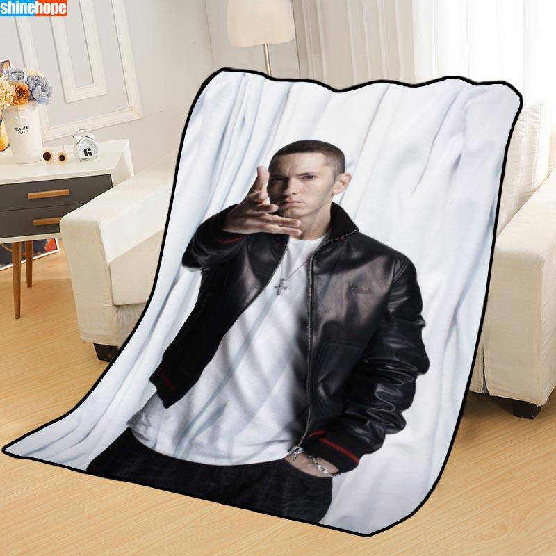 البطانيات المخصصة مخصص Eminem البطانيات للأسرة لينة TR لتقوم بها بنفسك صورتك دروبشيبينغ رمي بطّانية سفر
