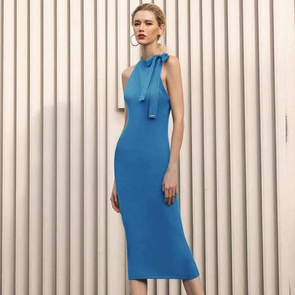 Adyce فستان بفيونكة زرقاء بتصميم جديد لصيف 2021 للسيدات فستان ضيق مثير بدون أكمام للمشاهير فستان متوسط للحفلات والنوادي