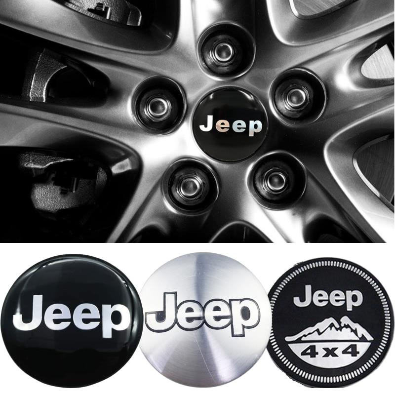 4 pçs cubo de roda centro tampa adesivo para jeep wrangler jk patriot grand cherokee comandante tj jl renegado liberdade emblema acessórios