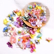 50/100Pcs 1.5cm Daisy Flower Head Mini Silk Flower Artificial flower Head DIY Wedding Garland Headdress Handmade Scrapbooking
