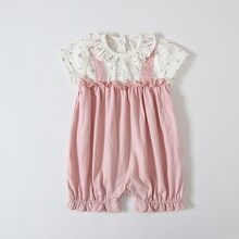 ATUENDO Summer Pink Newborn Baby Romper Fashion Cute Silk Soft Infant Girl's Clothes 100% Cotton Kaw