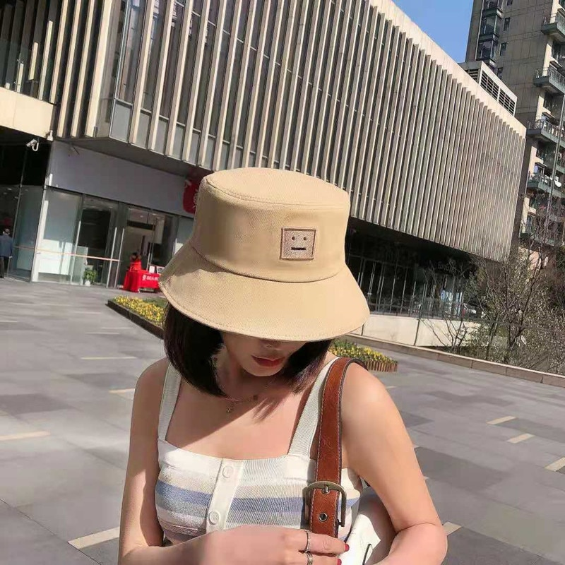 Bucket Hat Soft Sister Fashion Smiley Face Embroidery Bob Ms. Summer Panama Foldable Beach Hat Sunshade Sunscreen Fisherman Hat