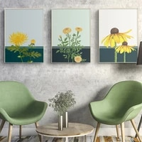 nordic flowers painting sunflower posters wall art canvas prints watercolor chrysanthemum wall picture for living room decor