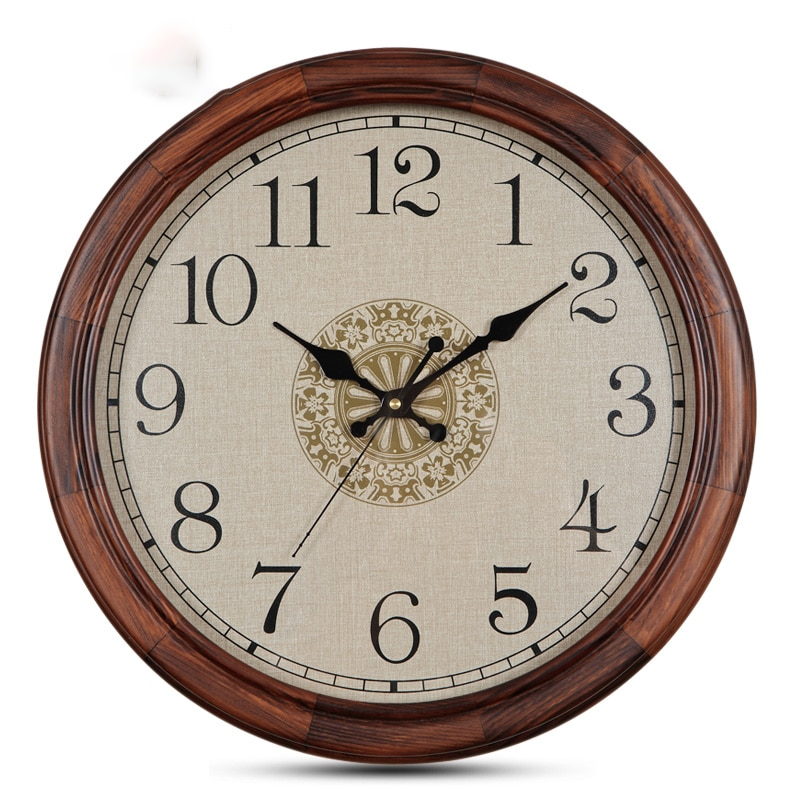 Wall Clock Vintage Living Room Decoration Wall Watches Home Decor Solid Wood Frame Silent Movement Creative Quartz Clocks Gift