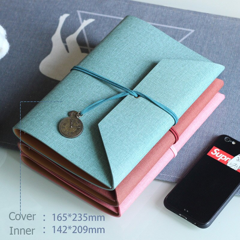 Cuaderno de viajero a la moda cuatro folletos interiores espiral libro recargable Retro hecho a mano diario cuero Tapa dura arte diario