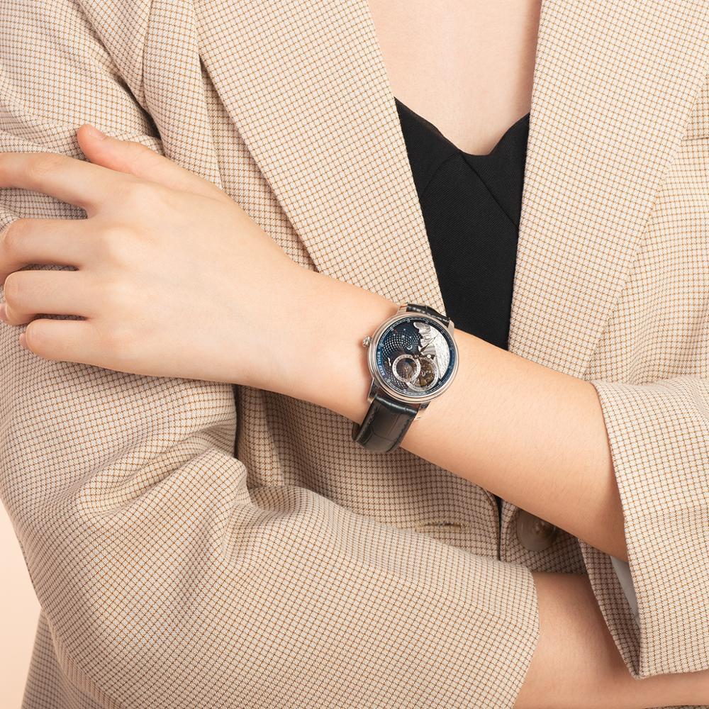 Reef Tiger/RT 2021 Luxury Fashion Watch for Women Men Blue Tourbillon Automatic Watch Leather Unisex Watches Clock Reloj RGA1739 enlarge