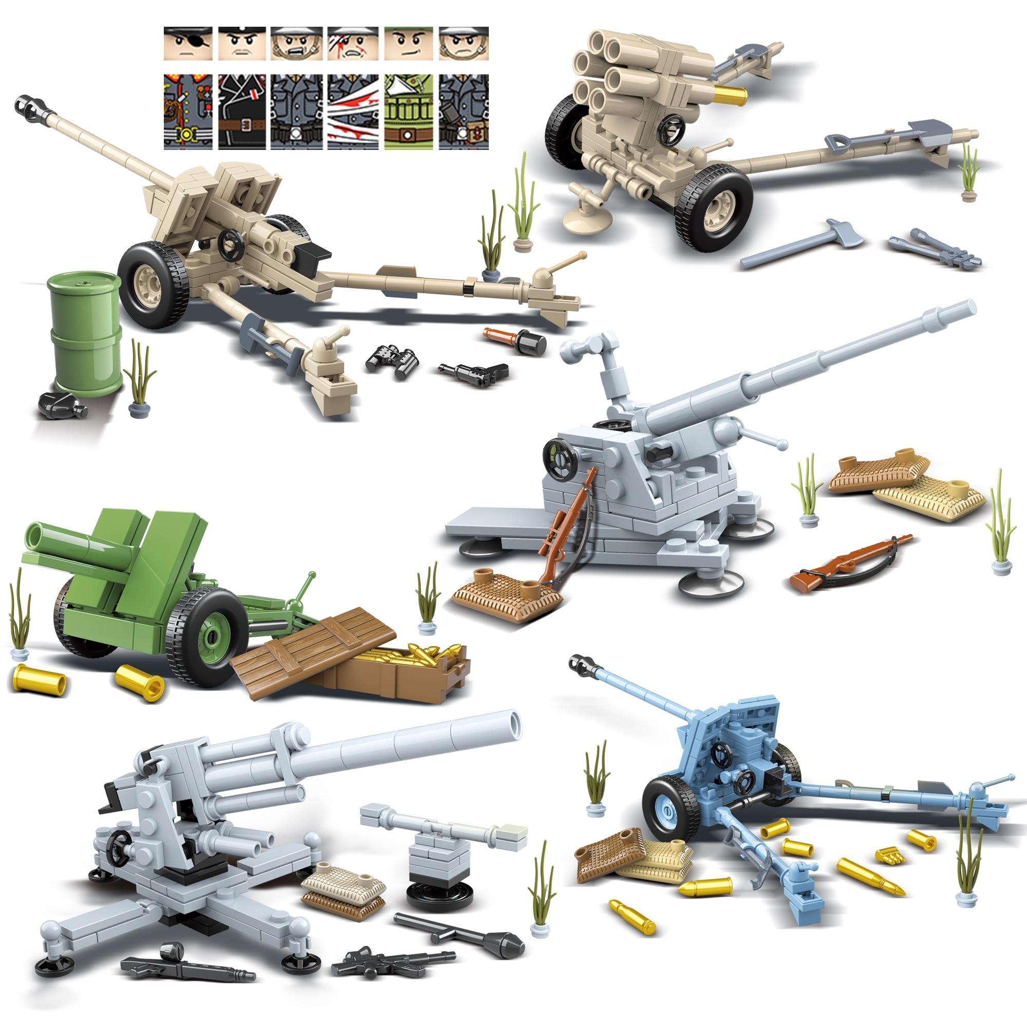 Armas militares de la Segunda Guerra Mundial de Alemania antitanque FlaK 18 2cm Flak30 Flakvierling con Minifigs Kids Juguetes de bloques de construcción