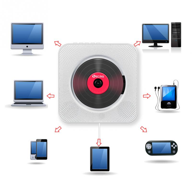 CD Player Wall-mounted Bluetooth Portable Home Audio Boombox with Remote Control FM Radio Built-in HiFi Speakers USB MP3 enlarge