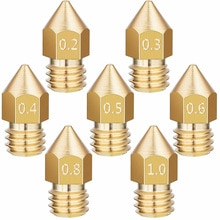 24 pièces Extrudeuses Buses Pour 3D Imprimante Partie MK8 0.2/0.3/0.4/0.5/0.6/0.8/1.0mm Fournitures Accessoires