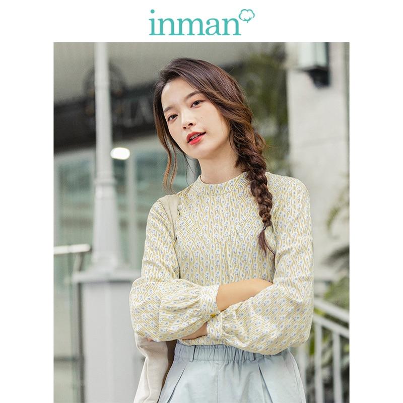 Blusa de mujer manga larga suelta cuello redondo literaria nueva llegada primavera 2020 INMAN