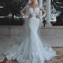 Paris Style robe de mariée sirène vestido de noivarobe de mariee robes de mariée manches longues abiye formelle robes de mariée Appliques