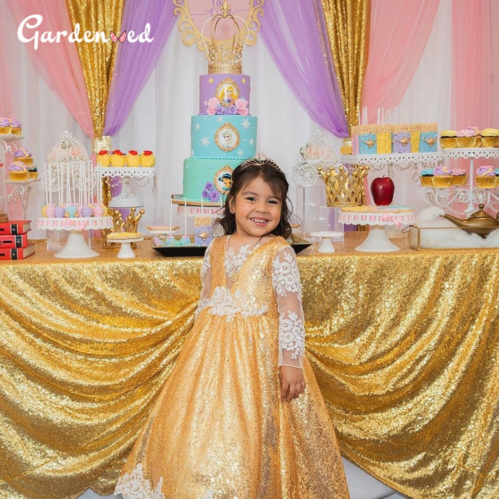 Kids Illusion Lace Sleeves Flower Girl Dresses Glitter Sequin Skirt Pagnant Dresses Tulle Lace Backless First Communion Dresses gold lace applique first communion dresses short sleeves top lace flower girl dress lace applique skirt girl pageant dresses